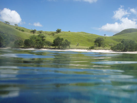 Komodo island from the sea