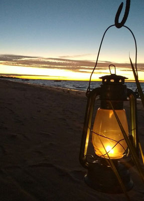 Dinner set up on the beach at Azura Benguerra, Mozambique. Dante Harker