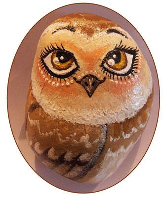 #stoneart #paintedrock #owl