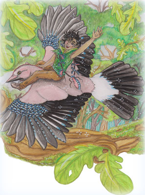 Flug auf dem Eichelhäher, Kinderbuchillustration, Kinderbuchillustrator Nadine Drexler, children's book illustration