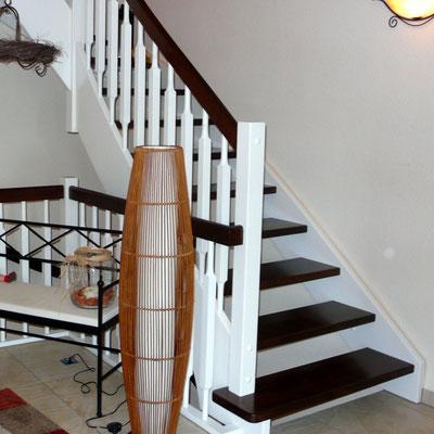 Treppe Kombination Buche weiß