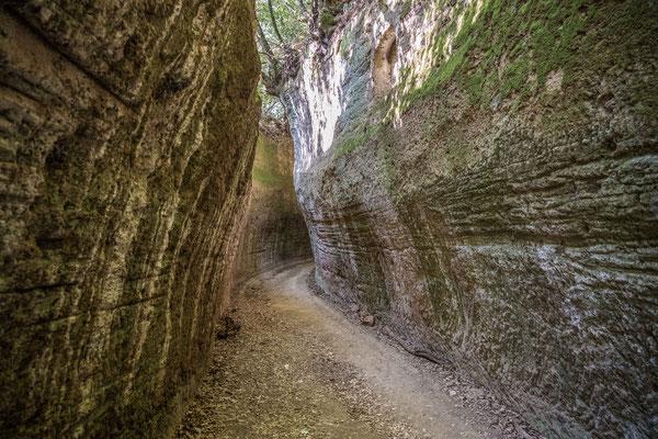 Etruskischer Hohlweg in den Tufffelsen von Necropoli die Sovana