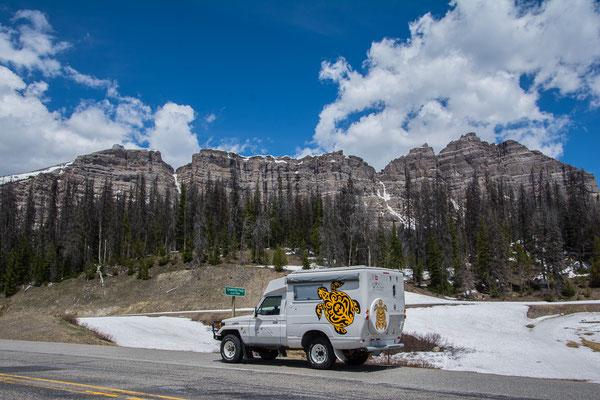 Auf 3000 müM kurz vor dem Grand Teton National Park