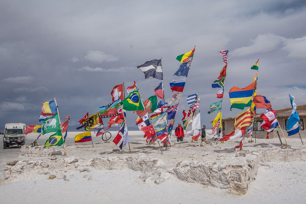 Flaggenwald beim Dakar Monument