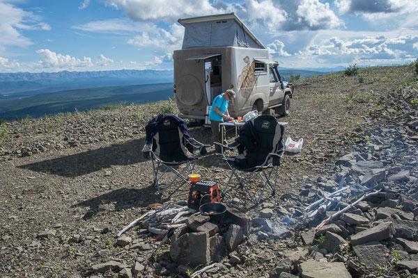 Super Campspot hoch über dem Tal
