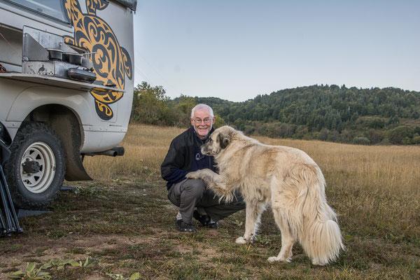 Buschcamp am Mavrovo See mit unserem Wachhund, Mavrovo National Park