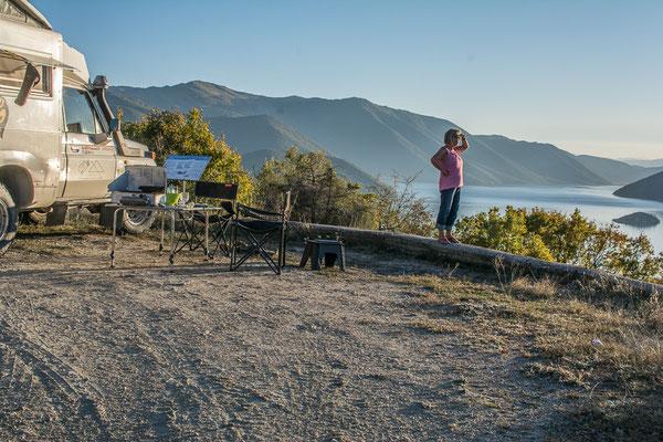 Übernachtungsplatz hoch über dem kleinen Prespa See