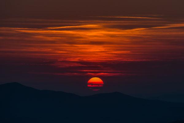Sonnenuntergang vom Campingplatz in Moniticello Amiata