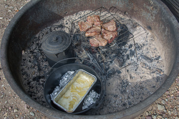 Kartoffelgratin und Lammkoteletten