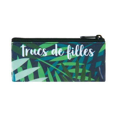 Edition Derrière la Porte (Paris) 2019 :POCHETTE À TRUCS DEFILLE FEUILLES Ref  D060-P040240  Pochette à trucs DEFILLE Feuilles MATIÈRE: Plastique DESIGNER: Emmanuelle Boissot