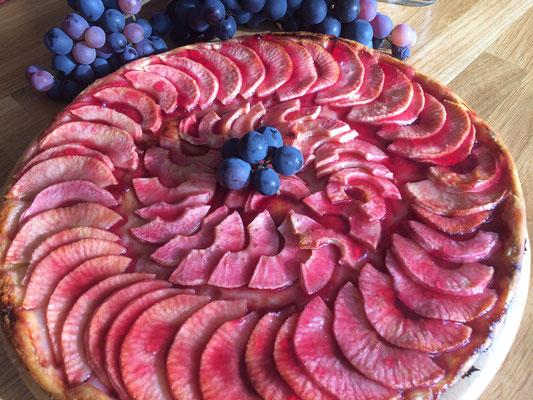 Tarte vignerons au gelée de vin d'Anjou - Table d'hôtes Domaine de Joreau, chambres et tables d'hôtes, Saumur, Val de Loire