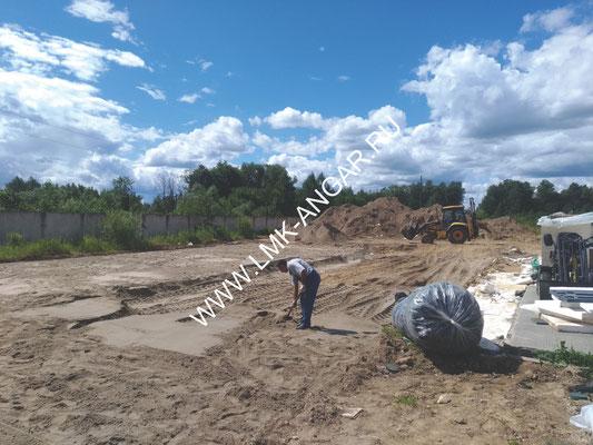 Земельные работы. Выборка грунта. Подготовка основания под фундаментную плиту.