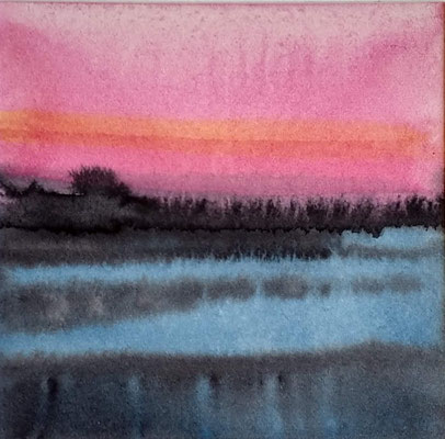 """""""avond licht"""" no.7, aquarelle on aquarelle paper / sold (private collection in Dordrecht the Netherlands)"""