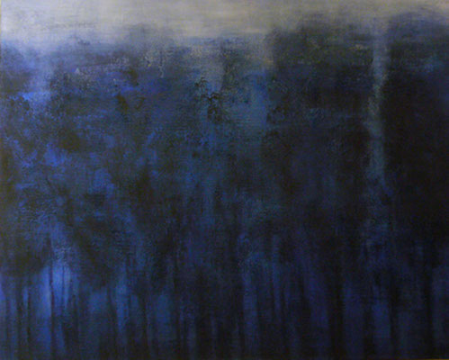 'Avondblauw', Acryl, pigment en charcoal op linnen canvas / 73 x 92cm/ Private colletion in Zoetermeer, The Netherlands