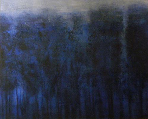'Avondblauw', Acryl, pigment en charcoal op linnen canvas / 73 x 92cm/ Private colletion in Zoetermeer, The Netherlands