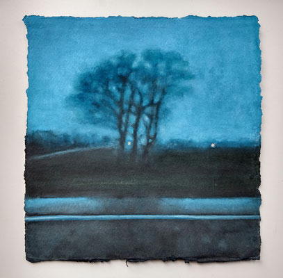 'at dusk' - wl-1' / 2019 / watercolour on handmade Indian paper /  (+/-)20.5x21,5cm / Sold (Private collection in the Netherlands)