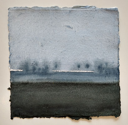 'at dusk' - wl-2' / 2019 / watercolour on handmade Indian paper / (+/-)20.5x21,5cm