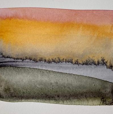 """avond licht"" no.2, aquarelle on aquarelle paper"