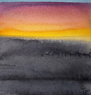 """avond licht"" no.3, aquarelle on aquarelle paper"