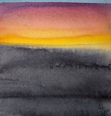 """""""avond licht"""" no.3, aquarelle on aquarelle paper / sold (private collection in Dordrecht, the Netherlands)"""