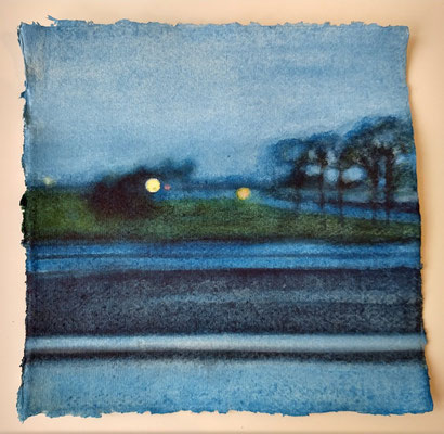 'at dusk' - wl-4' / 2020 / watercolour on handmade Indian paper /  (+/-)20.5x21,5cm