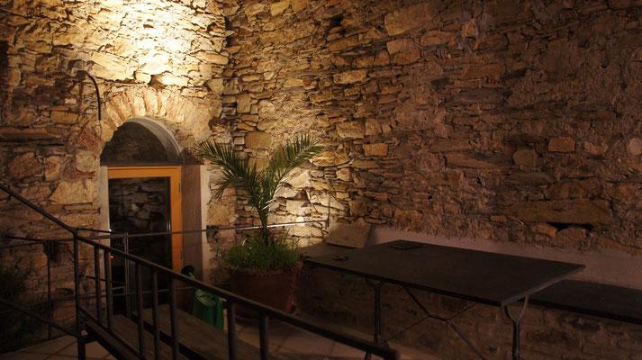 Ferienhaus Dolcedo: Centrale I, Westterasse nachts
