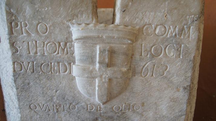 Dolcedo-Piazza, Loggia Sutto Münte, Maße für Öl und Wein
