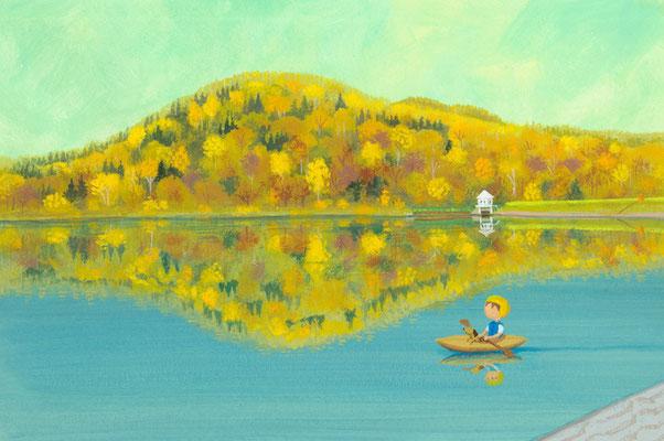 美しい北海道の風景画イラスト 水彩タッチアクリル 秋 湖畔に映る紅葉
