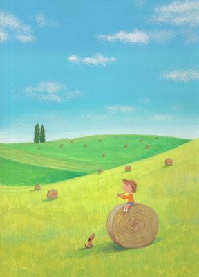 風景画イラスト 水彩タッチアクリル 美しい風景  夏の牧場の朝 北海道別海町