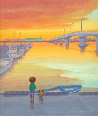 北海道の美しい海辺の風景画イラスト 水彩タッチ 夏 燃える夕焼けの中で 常呂町