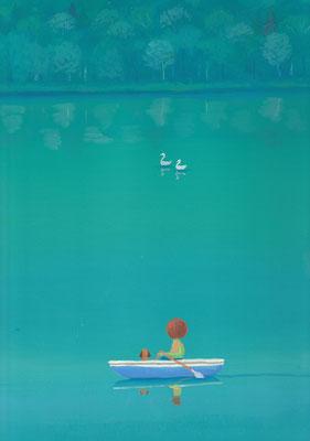 風景画イラスト 水彩タッチアクリル 美しい風景  青い湖畔の白鳥 北海道鹿追町然別湖