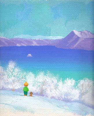 美しい北海道の風景画イラスト 水彩タッチアクリル 冬 白銀の摩周湖 弟子屈町