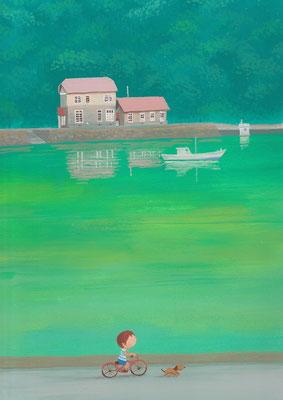 風景画イラスト 水彩タッチアクリル 美しい風景  夏の入り江の港 北海道小樽市忍路
