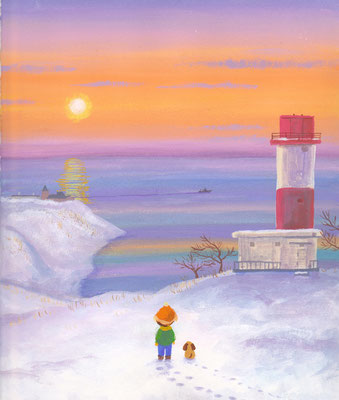 北海道の美しい海辺の風景画イラスト 水彩タッチ 冬 アヨロ岬の朝 登別市