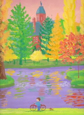 美しい北海道の風景画イラスト 水彩タッチアクリル 秋 秋の赤れんが 札幌市