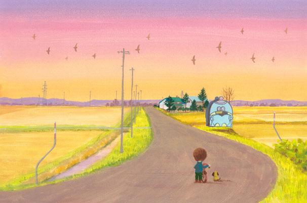 美しい北海道の風景画イラスト 水彩タッチアクリル 秋 夕暮れの帰り道
