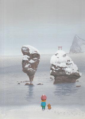 風景画イラスト 水彩タッチアクリル 美しい風景  凍てつく冬の夫婦岩 北海道余市町