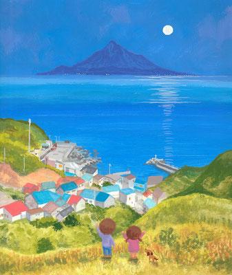北海道の美しい海辺の風景画イラスト 水彩タッチ 夏 月夜に輝く島 礼文町知床