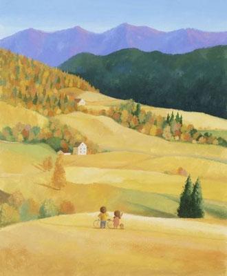 美しい北海道の風景画イラスト 水彩タッチアクリル 秋 こだまする山々 清水町