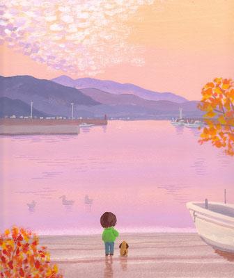 北海道の美しい海辺の風景画イラスト 水彩タッチ 秋 静かな夕暮れの海 函館市南茅部