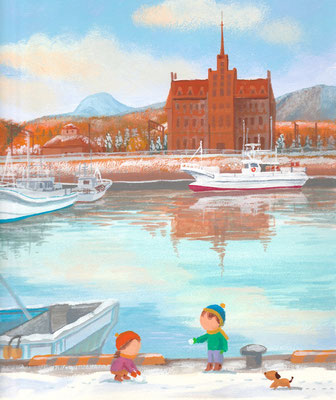 北海道の美しい海辺の風景画イラスト 水彩タッチ 冬 冬の漁港で 登別町