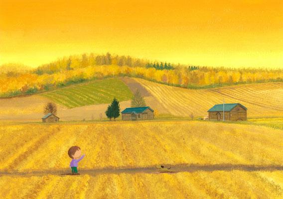 美しい北海道の風景画イラスト 水彩タッチアクリル 秋 秋色に包まれて