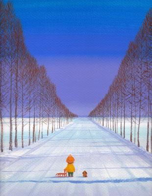 美しい北海道の風景画イラスト 水彩タッチアクリル 冬 冬の並木の中で 美唄市