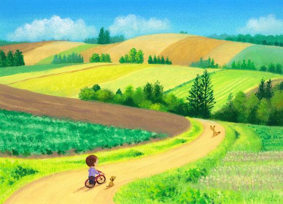 美しい北海道の風景画イラスト 水彩タッチアクリル 夏 丘の道での出会い