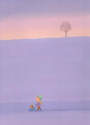 風景画イラスト 水彩タッチアクリル 美しい風景  雪の丘の一本木 北海道美瑛町