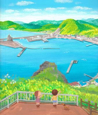 北海道の美しい海辺の風景画イラスト 水彩タッチ 夏 エンルム岬展望台から 様似町