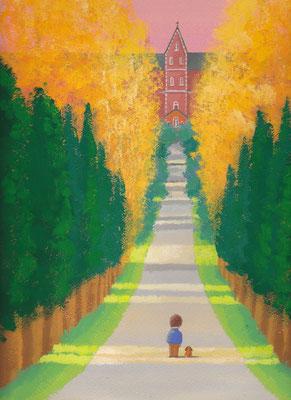 美しい北海道の風景画イラスト 水彩タッチアクリル 秋 静寂な坂道 北斗市
