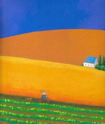 美しい北海道の風景画イラスト 水彩タッチアクリル 夏 青空の丘の道 美瑛町