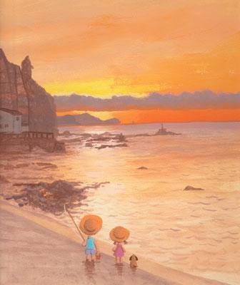 北海道の美しい海辺の風景画イラスト 水彩タッチ 夏 日が暮れた夏の一日 積丹町