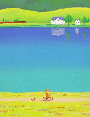 美しい北海道の風景画イラスト 水彩タッチアクリル 夏 湖畔にて